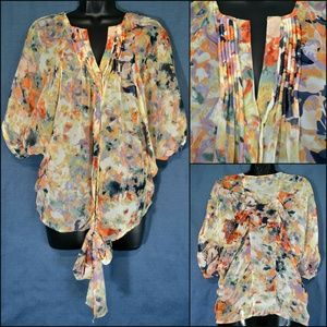 JEANS BY BUFFALO Women's Sheer Floral Blouse